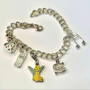 Disney tinker bell sterling silver charm bracelet